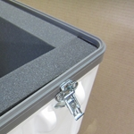 "Parker Plastics Shipping Container with Recessed Edge Casters SW 2424-27 With 2"" Foam Lining"
